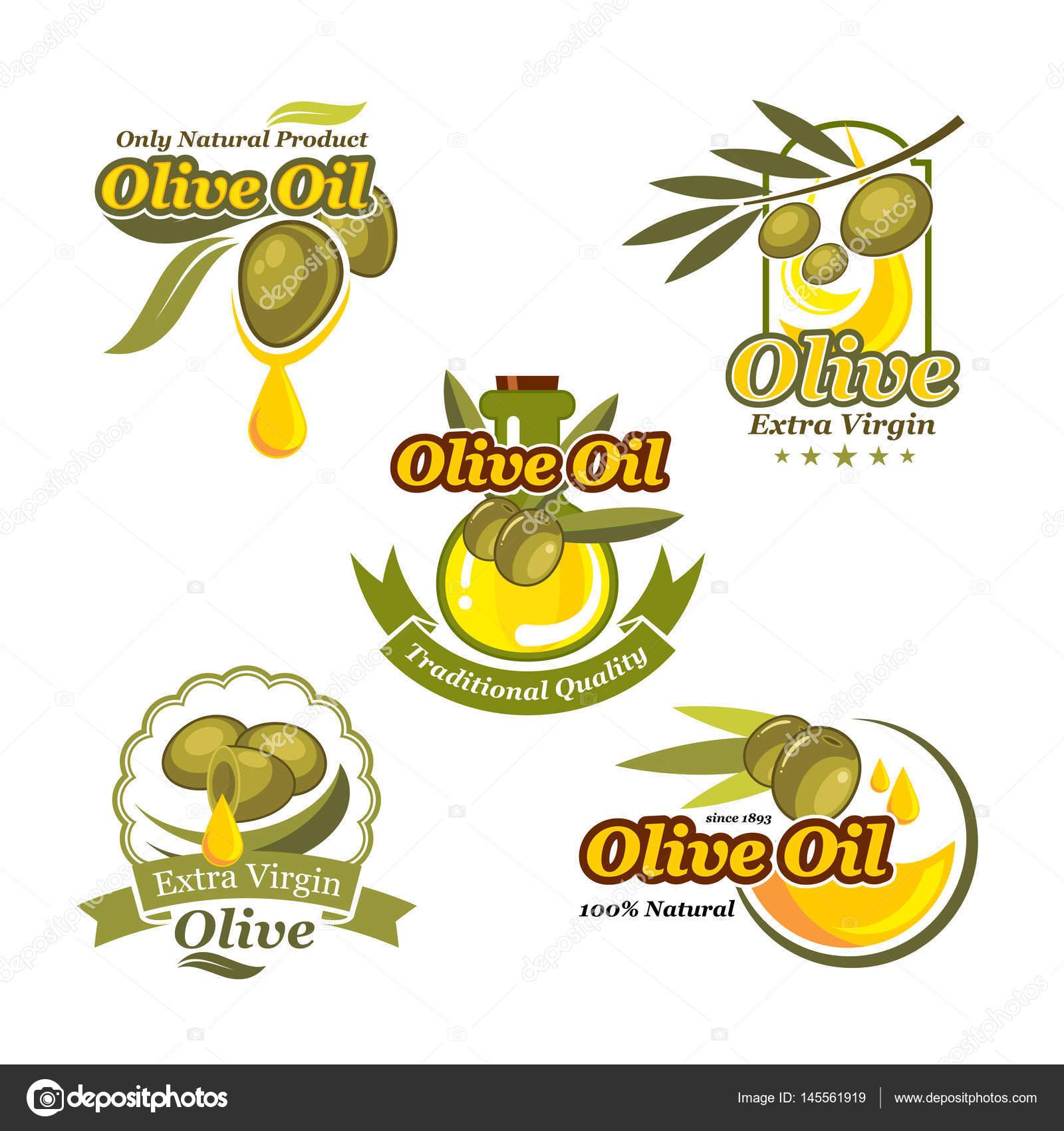 Conjunto de plantillas de etiqueta de aceite de oliva vector iconos ...
