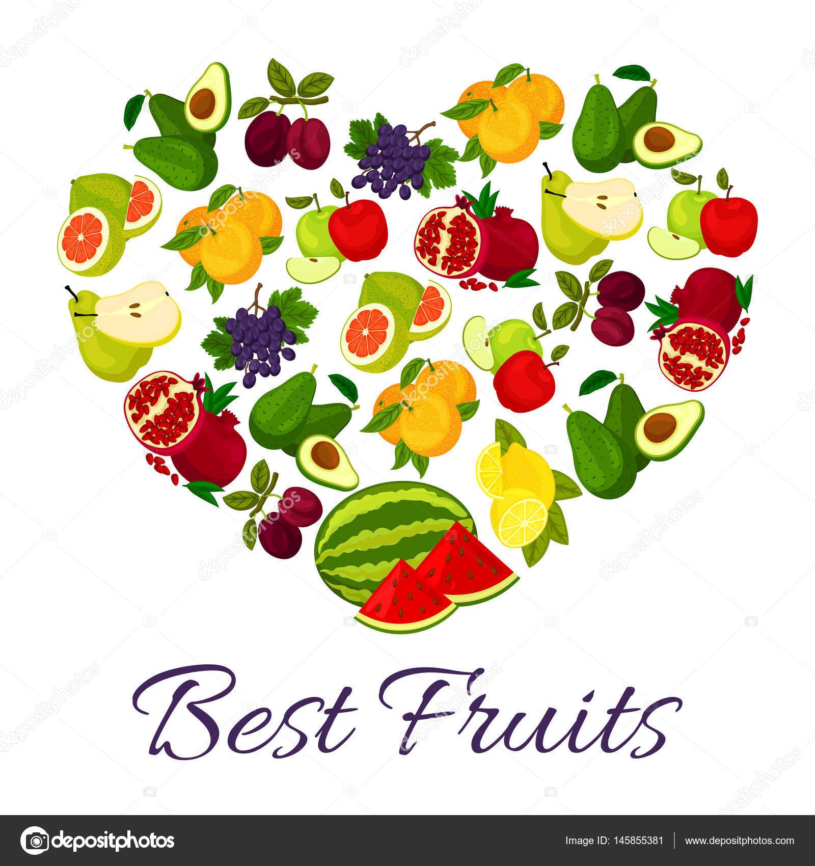 Fresh juicy fruits in heart symbol stock vector seamartini fresh juicy fruits in heart symbol stock vector biocorpaavc