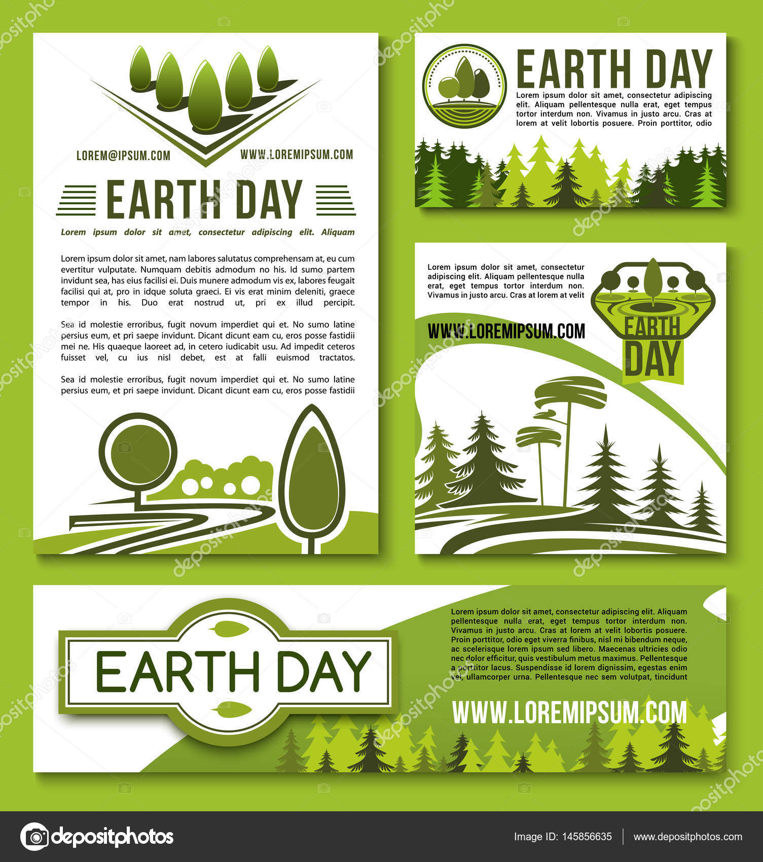 Vector posters and banners Earth Day templates set — Stock Vector ...