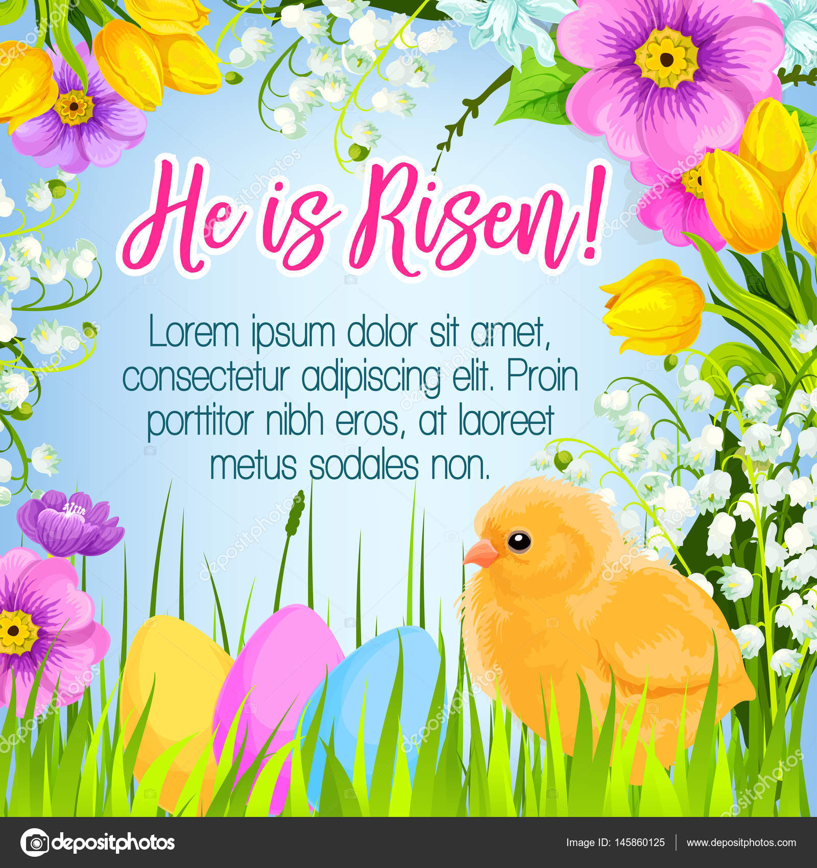 Easter vector poster card paschal eggs greetings stock vector easter poster and he is risen design for paschal greetings vector easter eggs and chick in bunch of spring flowers lily crocuses daffodils and tulips for m4hsunfo