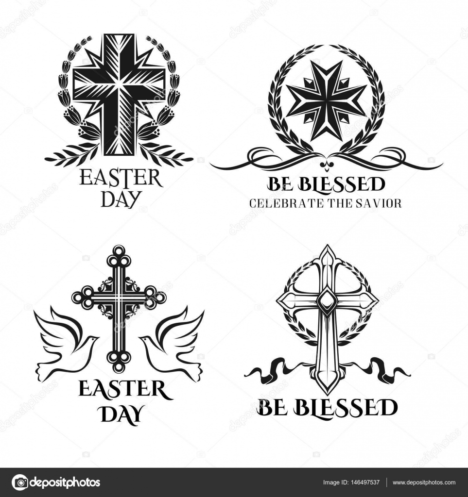Easter vector crucifix cross symbols for greeting stock vector easter icons and crucifix cross ornate symbols doves and paschal greeting text be blessed celebrate christ savior for resurrection sunday buycottarizona Images