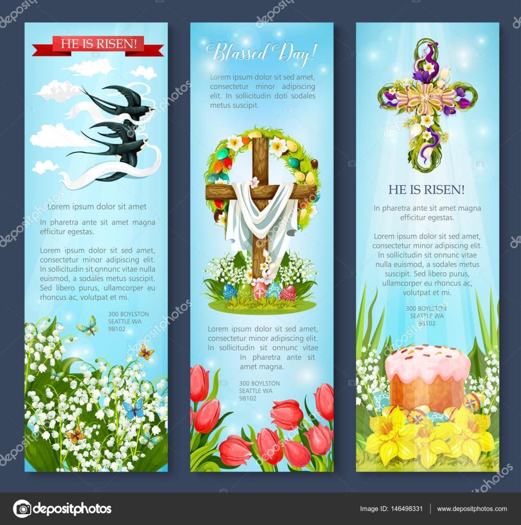 Easter Egg Cross Cake Bird Cartoon Banner Set Stock
