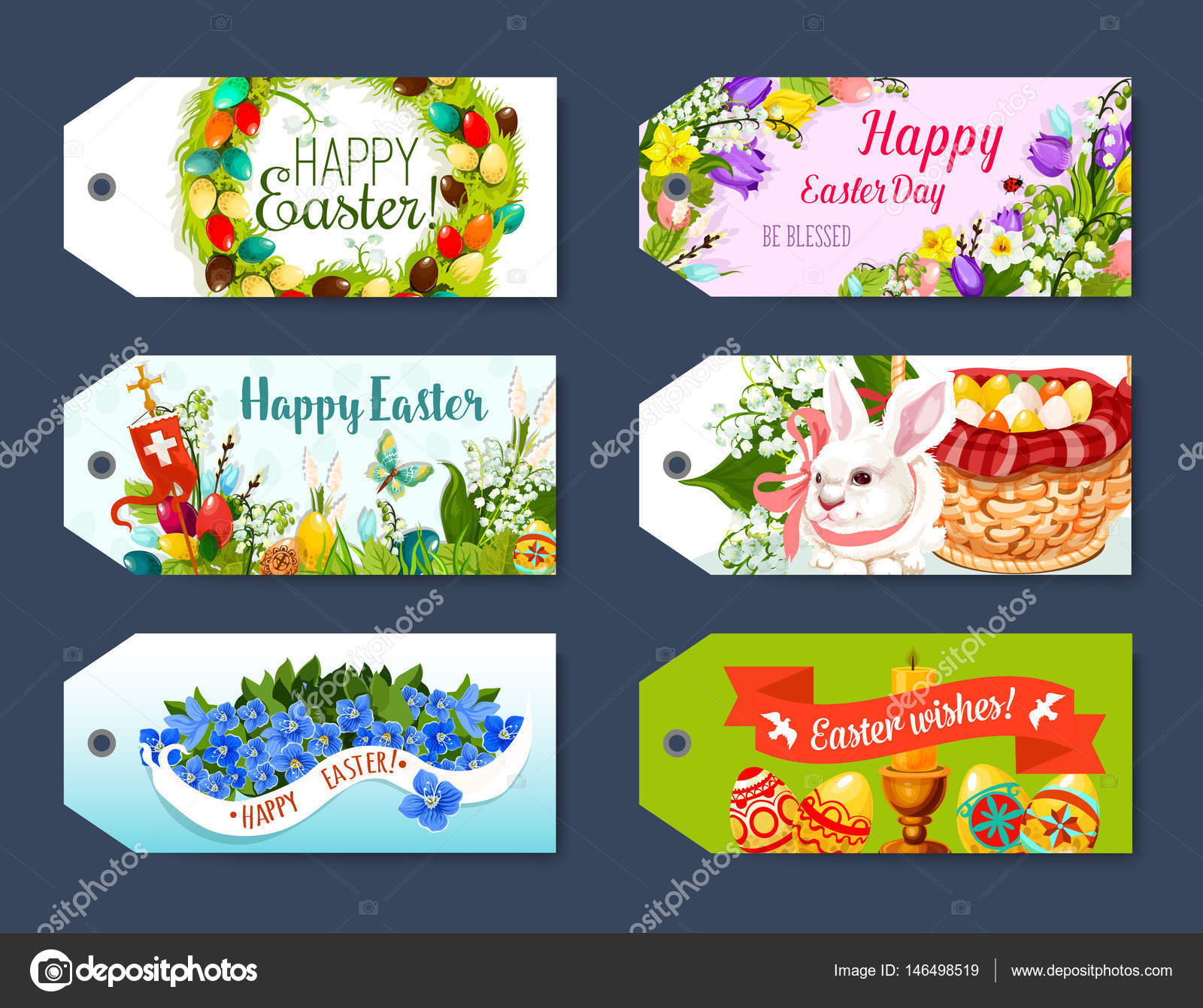 Easter gift tag and greeting label set design stock vector happy easter gift tag and greeting label set easter egg rabbit bunny egg hunt basket floral wreath of egg and flowers of tulip narcissus and lily negle Image collections