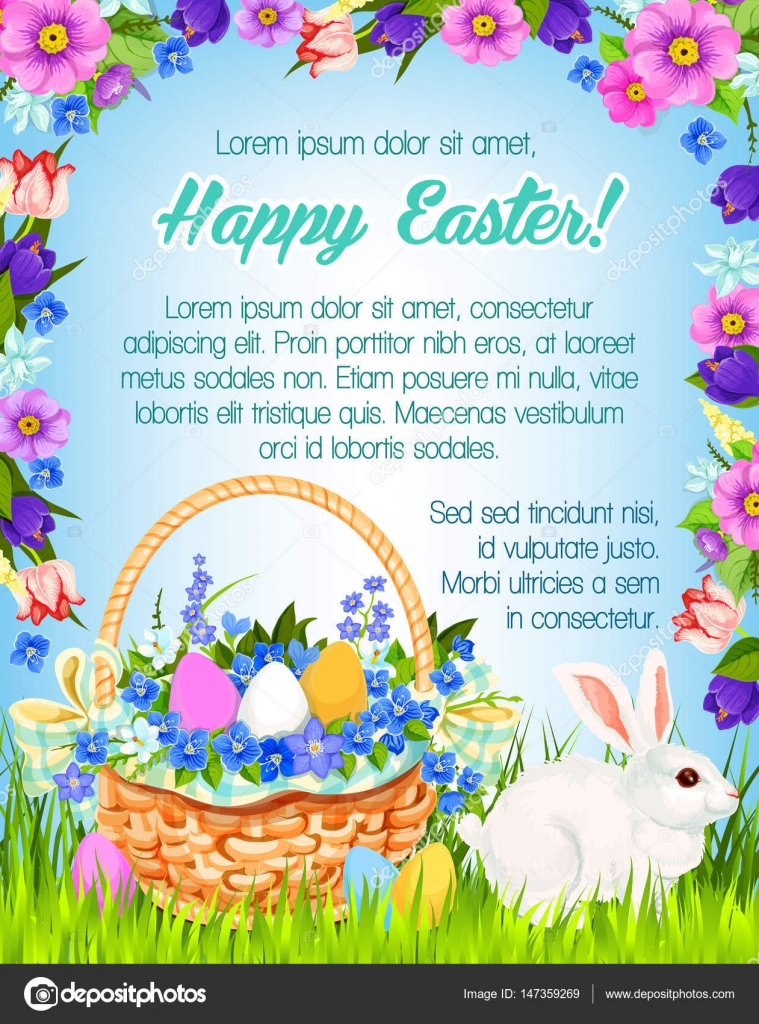Happy Easter Vector Paschal Greeting Poster Stock Vector