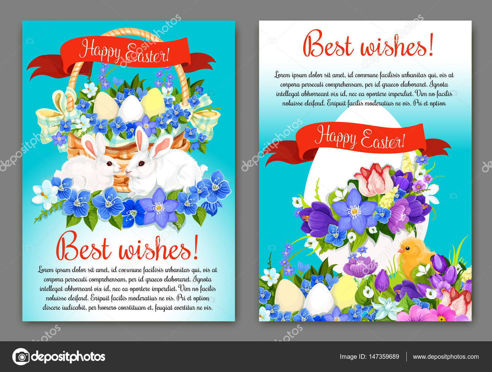 Easter Greeting Card And Poster Template Design Stock Vector