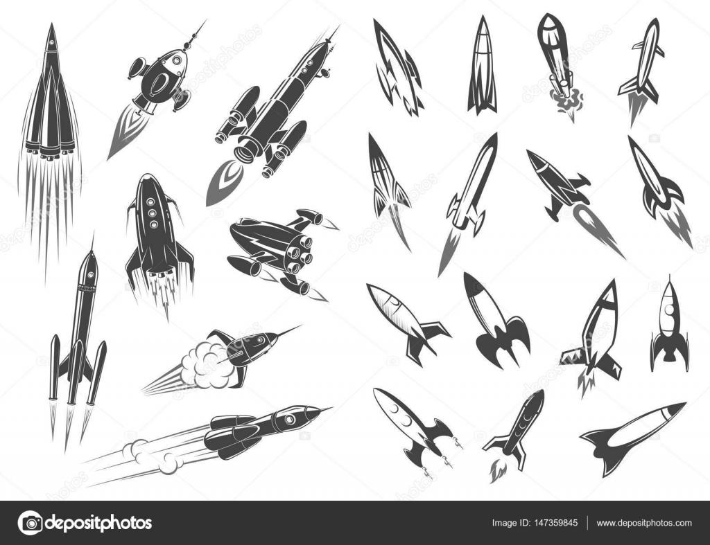 Cohete De Astronauta Y Vintage De Dibujos Animados: Cohetes Nave Espacial Dibujos Animados Retro Iconos