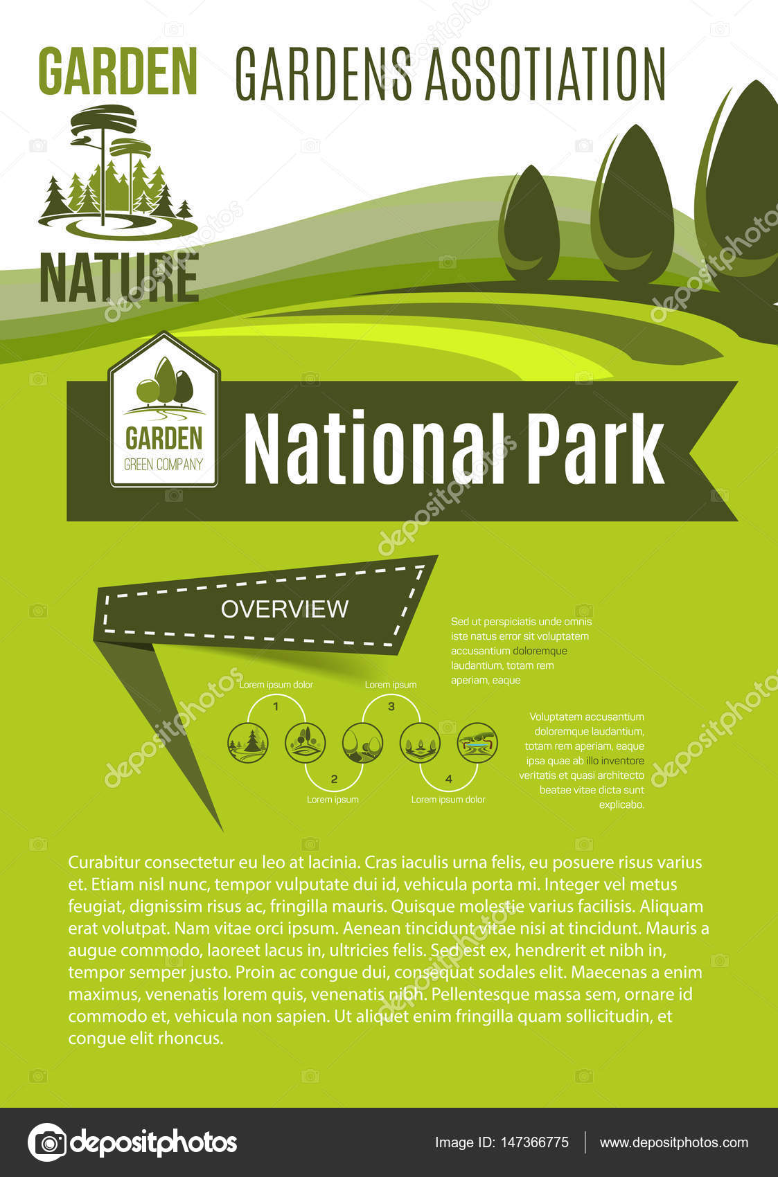Nature and gardens association vector poster — Stock Vector ...