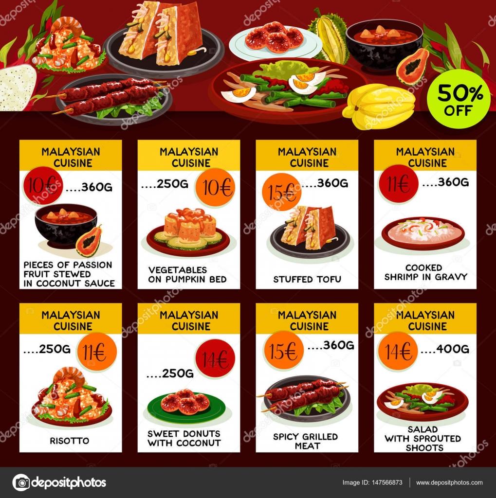 Diseño de plantillas de menú de restaurante de cocina de Malasia ...