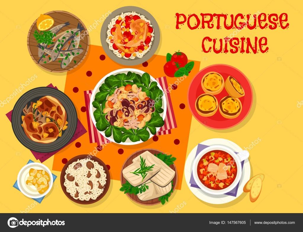 Portugiesische Küche Mittagessen Symbol für Menü-design ...