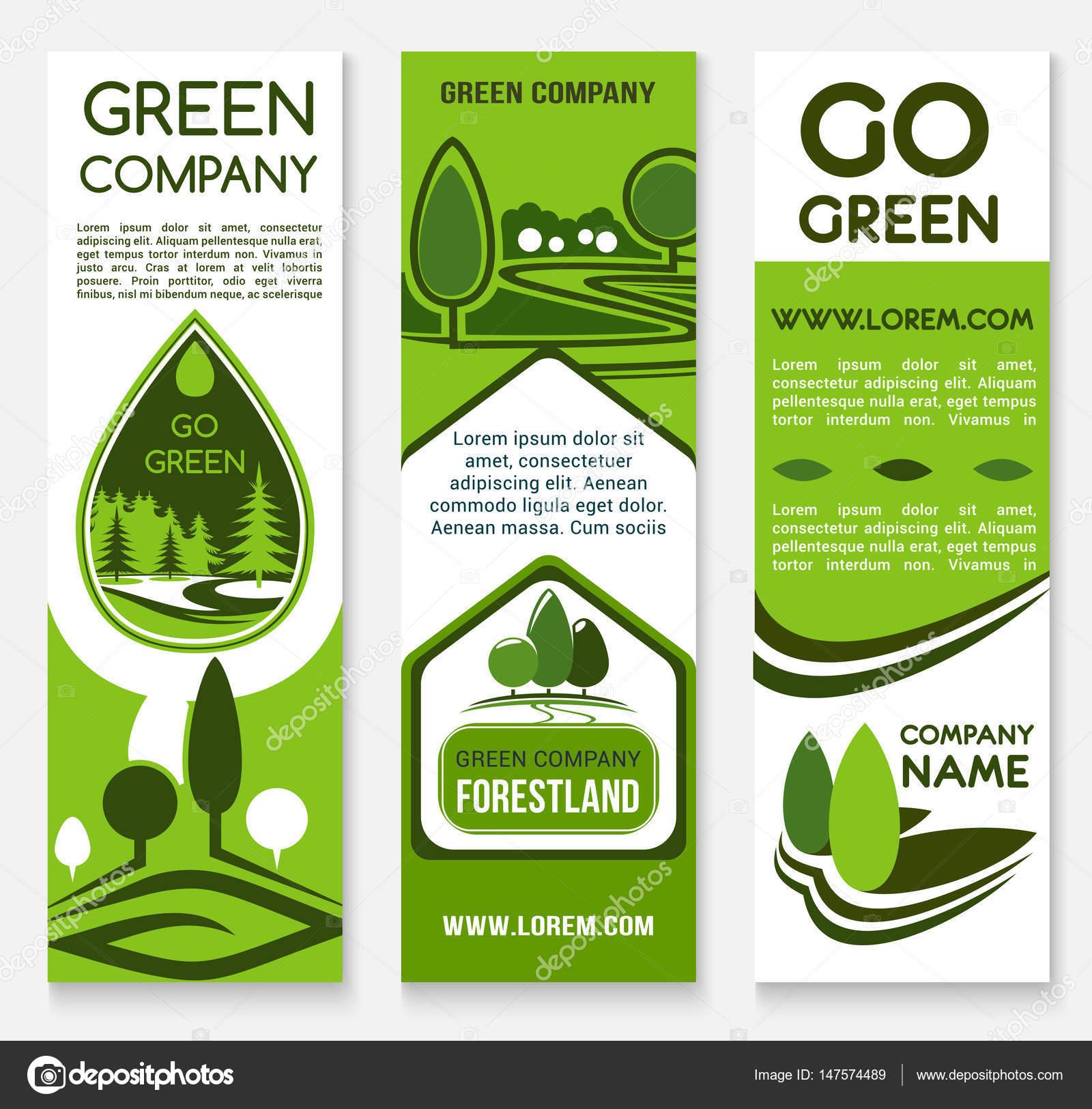 Modelo De Banner De Empresa De Negócios Verde Eco Vetor