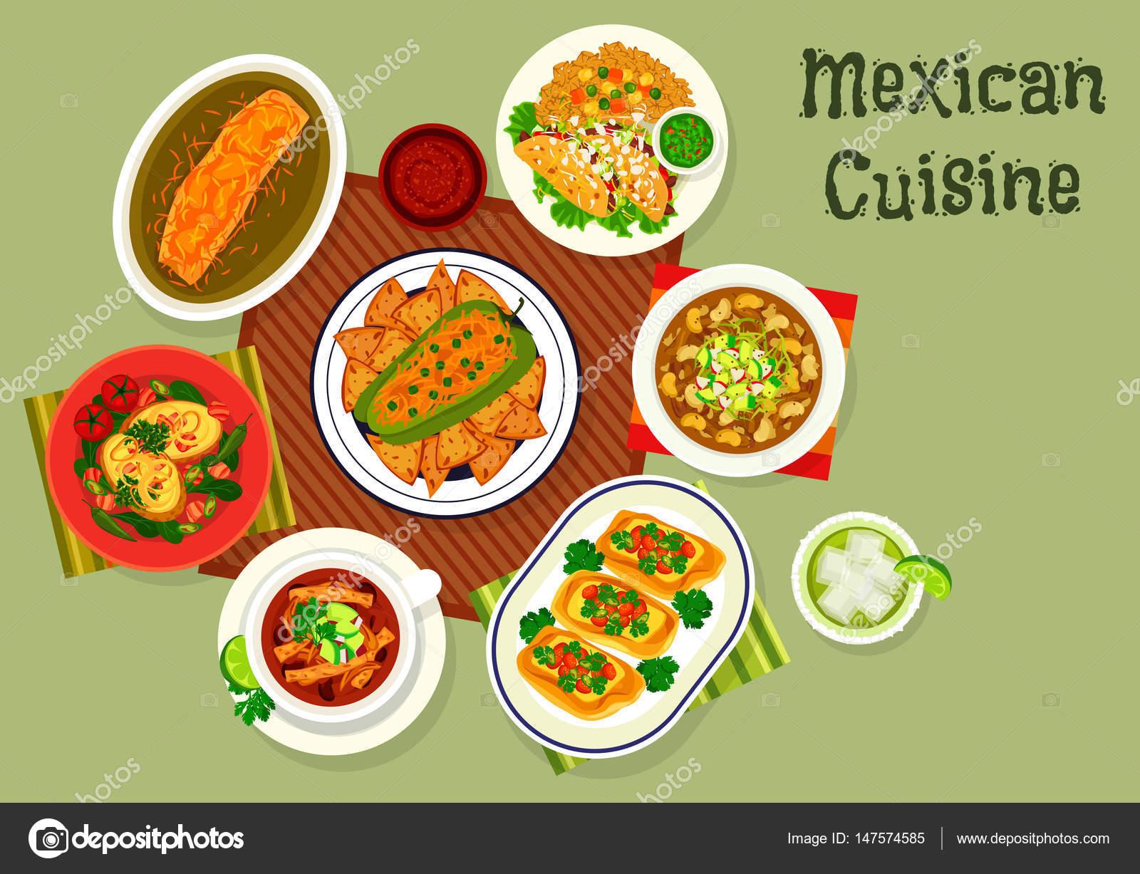 Kuchnia Meksykanska Ikona Z Zupy I Kanapki Grafika Wektorowa
