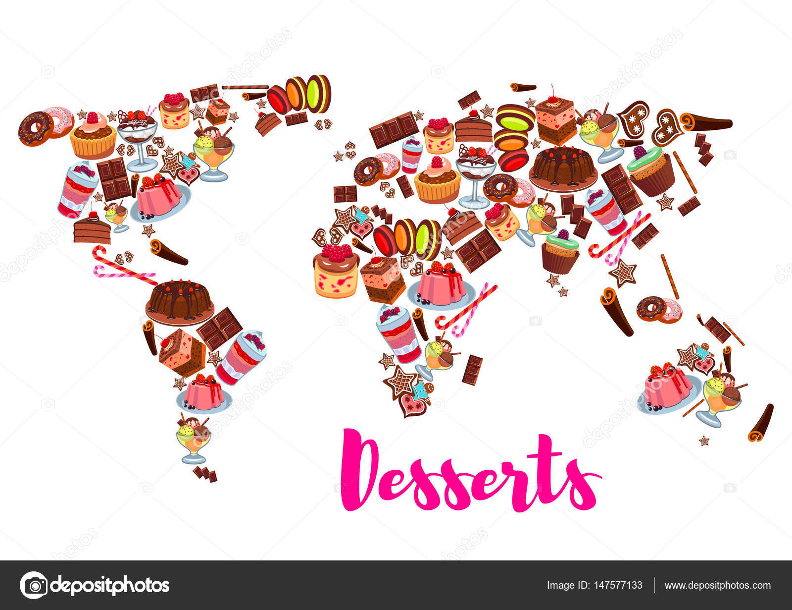 World map of cake, cupcake, donut, candy desserts — Stock ... on mint world map, britannia world map, palm world map, coins world map, lego world map, cheese world map, gourmet world map, spooky world map, city lights world map, bunny world map, plants world map, seasonal world map, capri world map, meat world map, bamboo world map, abstract world map, apple world map, water drop world map, new years world map, beans world map,