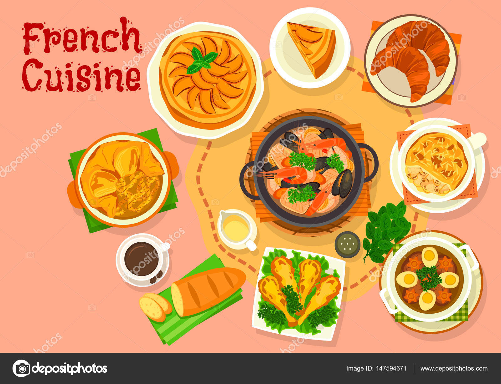 National dishes of France. Frog legs in French. French onion soup. Croissants. Baguette 88