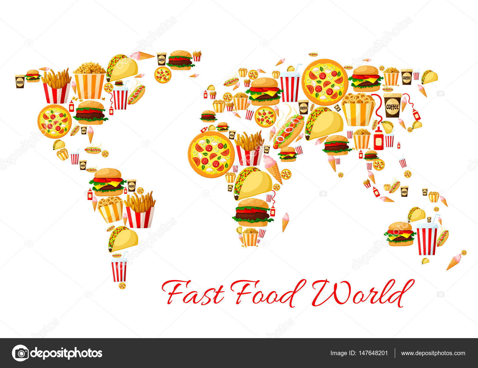 Fast food world map cartoon poster design stock vector fast food world map cartoon poster design stock vector gumiabroncs Images
