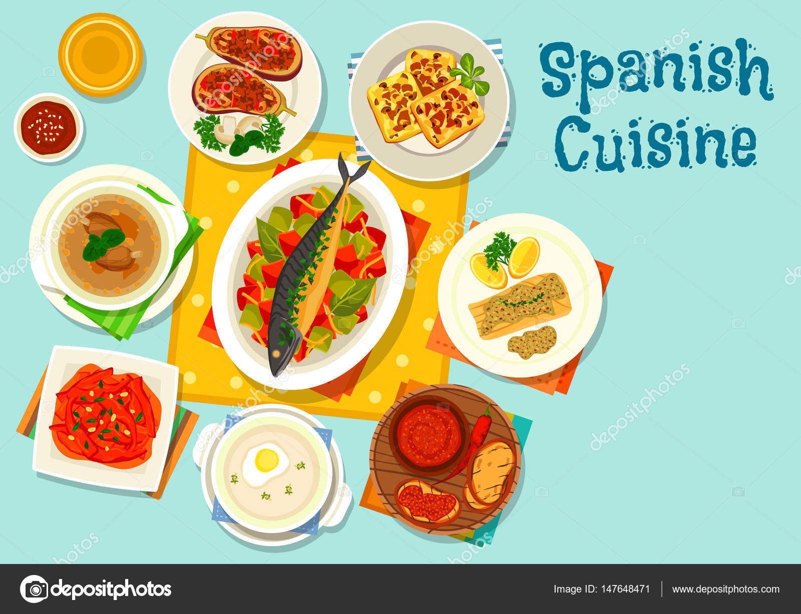 Spanische Küche-gesundes Mittagessen-Icon-design — Stockvektor ...