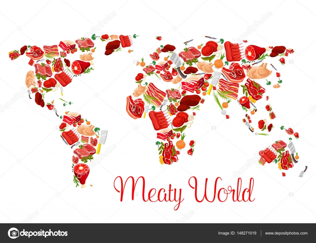 Meat world map poster with beef pork ham bacon stock vector meat world map poster with beef pork ham bacon stock vector gumiabroncs Choice Image