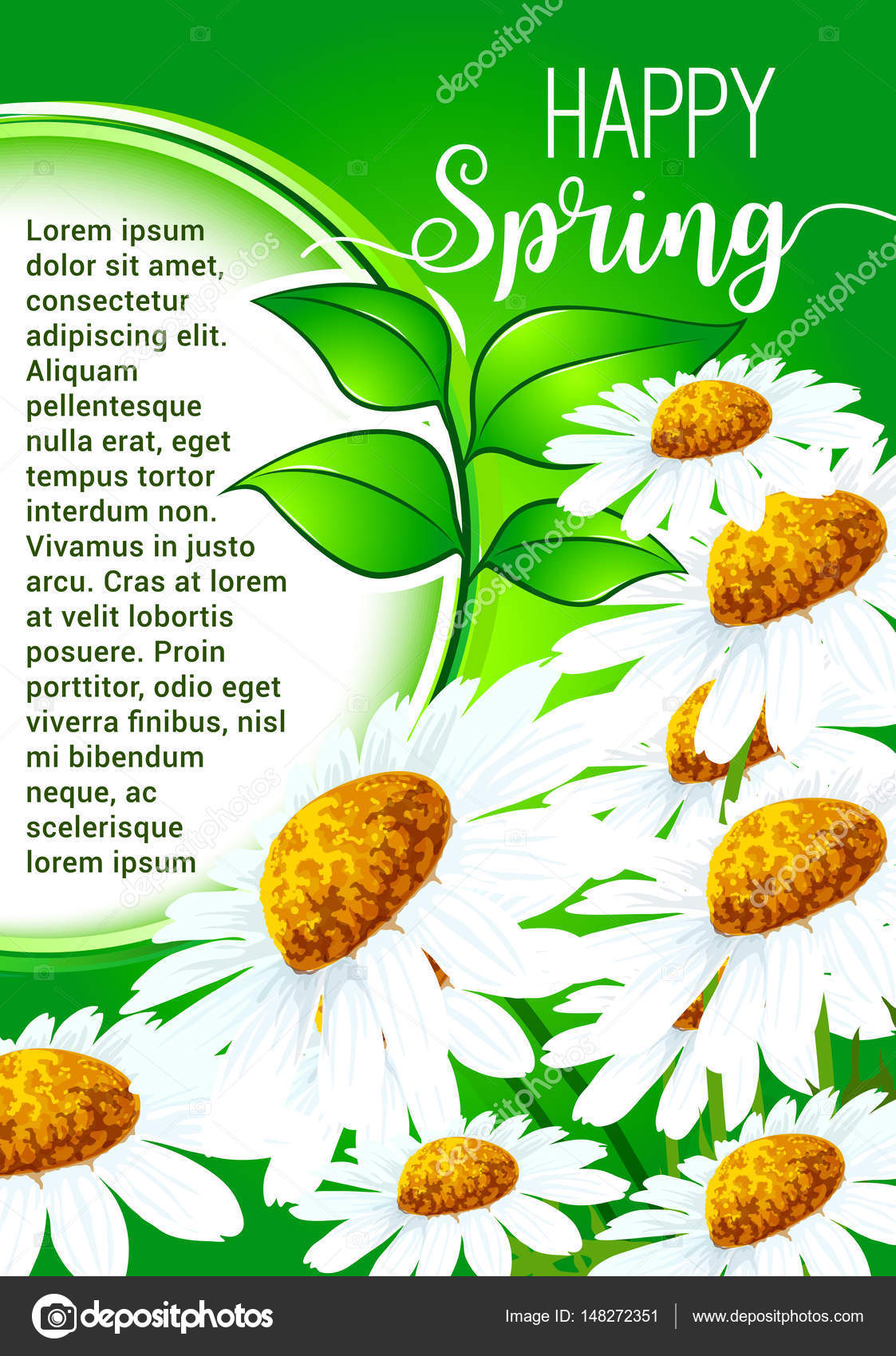 Happy spring greeting card with daisy flowers stock vector happy spring greeting card with daisy flowers stock vector m4hsunfo
