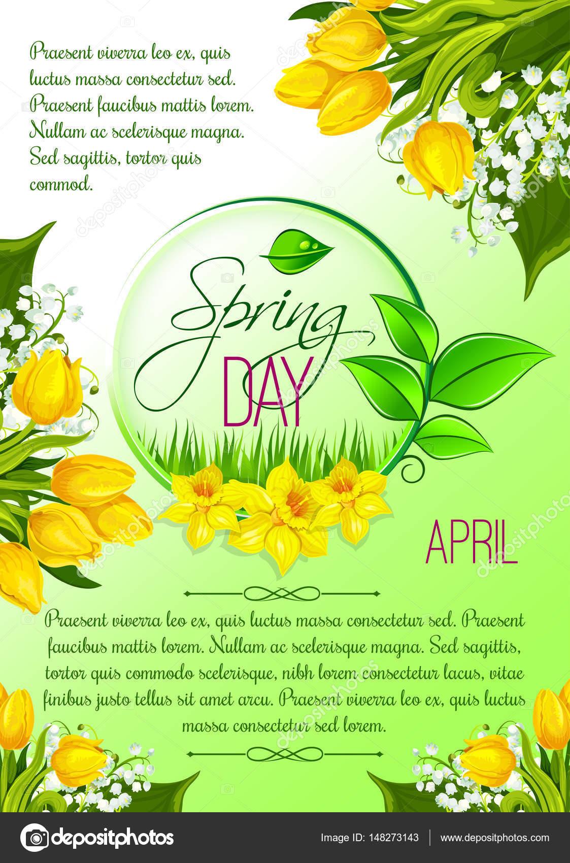 Dzień Wiosny Kwiatów Tulipanów Wektor Plakat Pozdrowienie