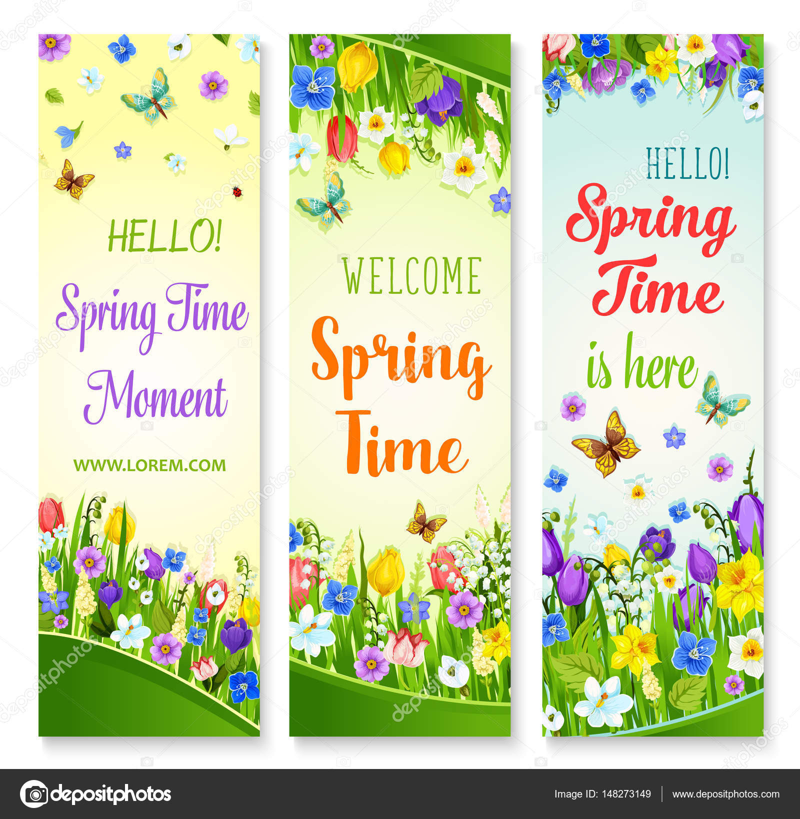 Vector Spring Flowers Banners With Greeting Quotes Stock Vector