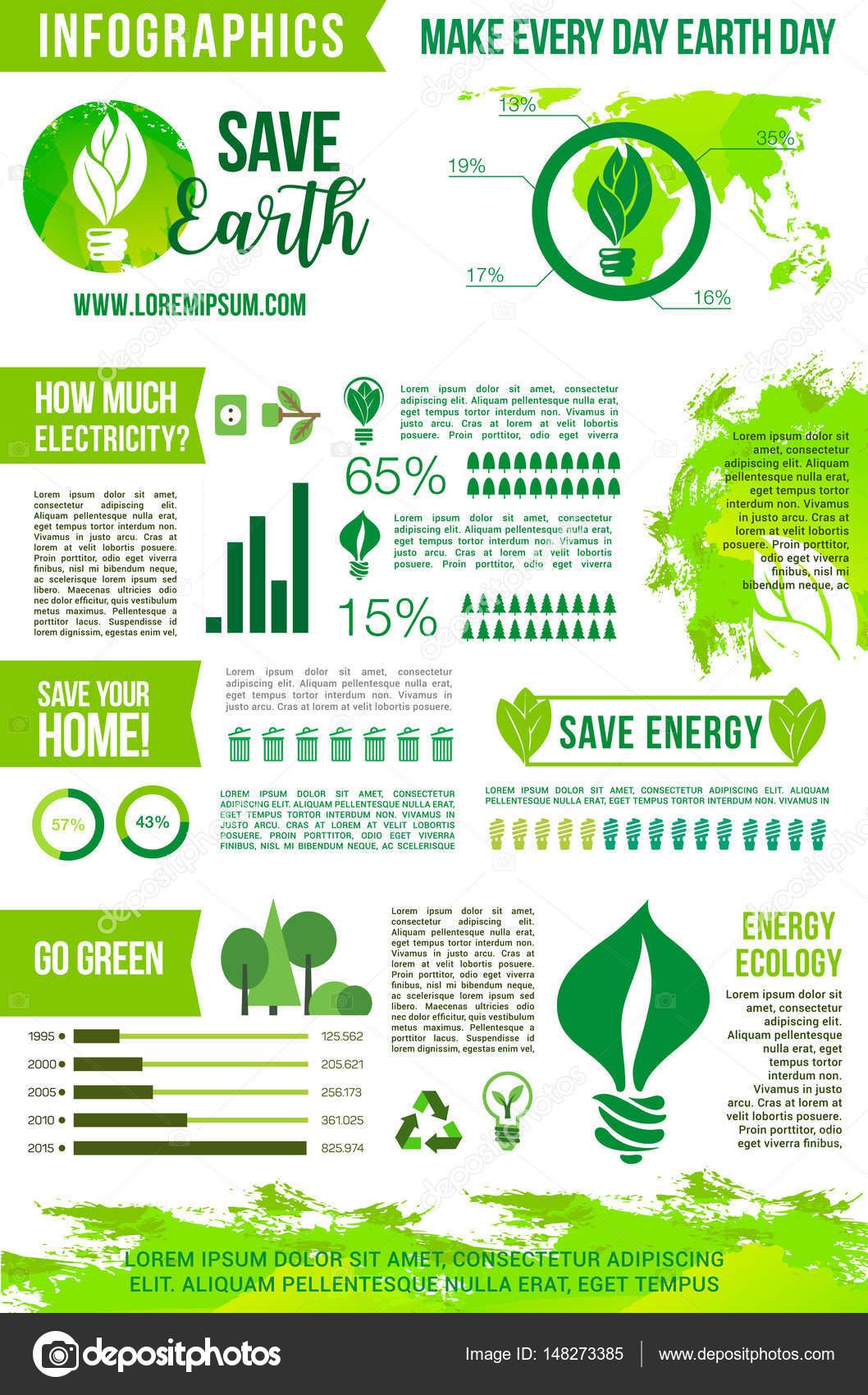 c58a0e13f8e Conceito de energia verde de vetor de infográficos de dia da terra —  Vetores de Stock