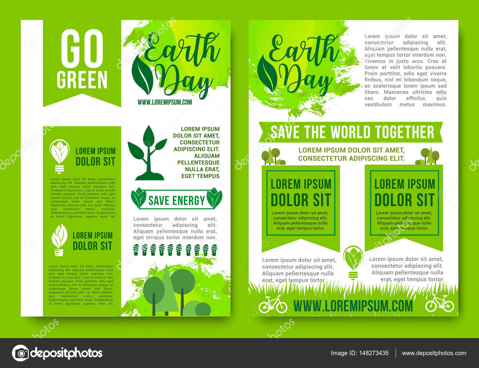 Save Earth And Go Green Vector Posters Design Of Nature Ecology Conservation Environment Pollution Global World Recycling Energy Concept