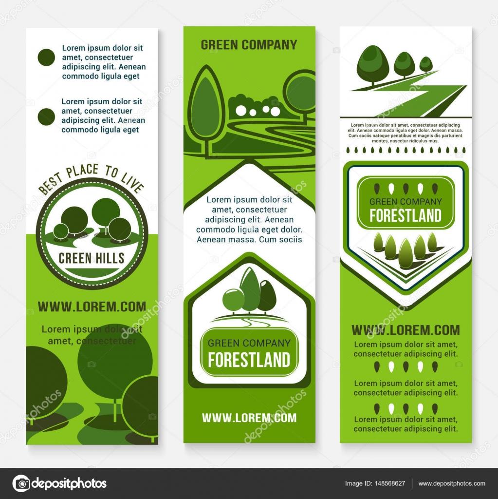 Eco Construction Et Mode De Vie Durable Banniere Modele Carte Visite Amicale Ecologie Flyer Sertie Paysage Verdure Des Arbres Forestiers Ou