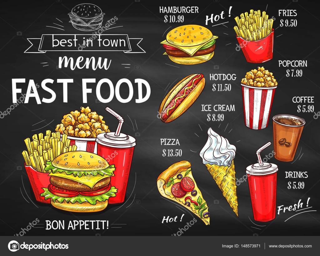 Diseño de pizarra de menú de restaurante de comida rápida ...