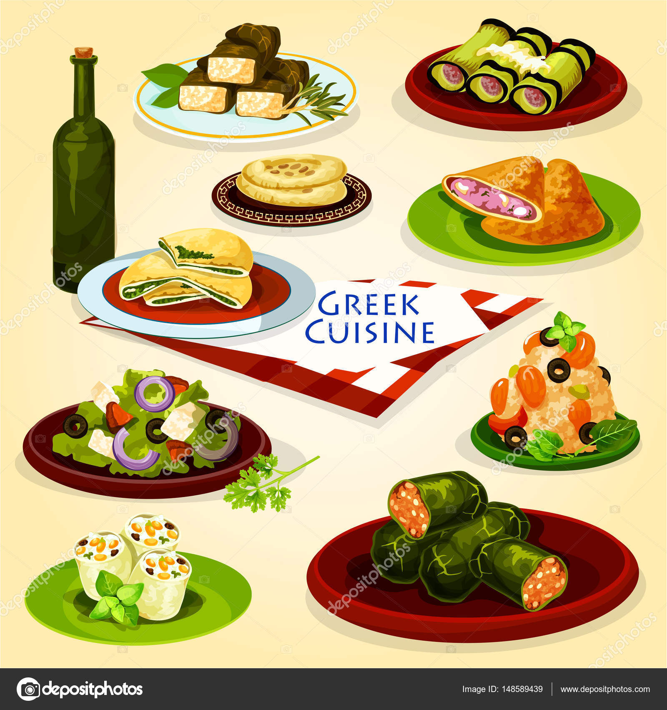Griechische Küche-gesundes Mittagessen-Cartoon-Plakat — Stockvektor ...