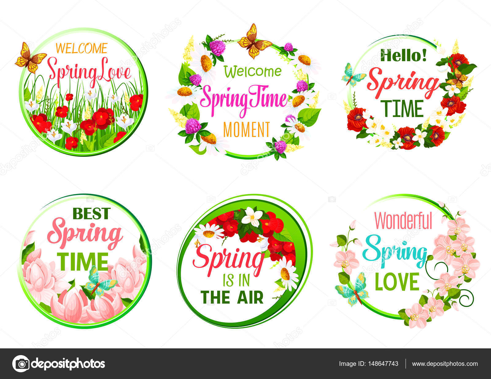 Springtime Greeting Quotes Templates Of Welcome Spring And Is In The Air Vector Fl Icons Set Blooming Begonia Poppy Flowers