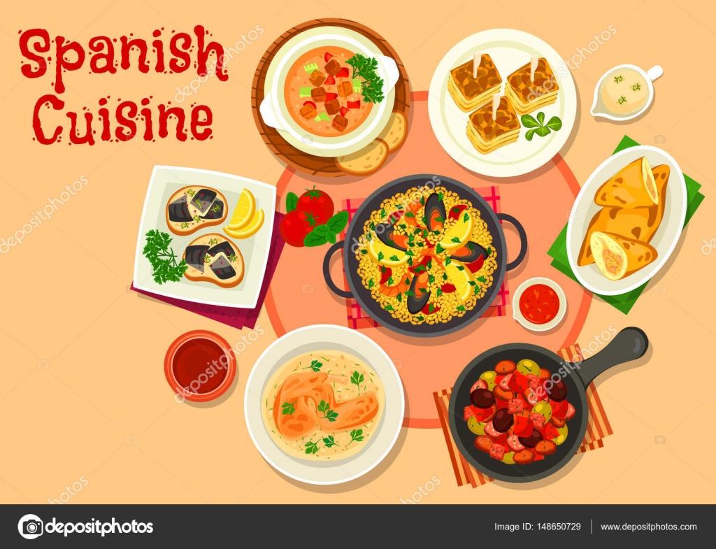Icono de platos de cocina espa ola cena saludable vector for Cocina espanola
