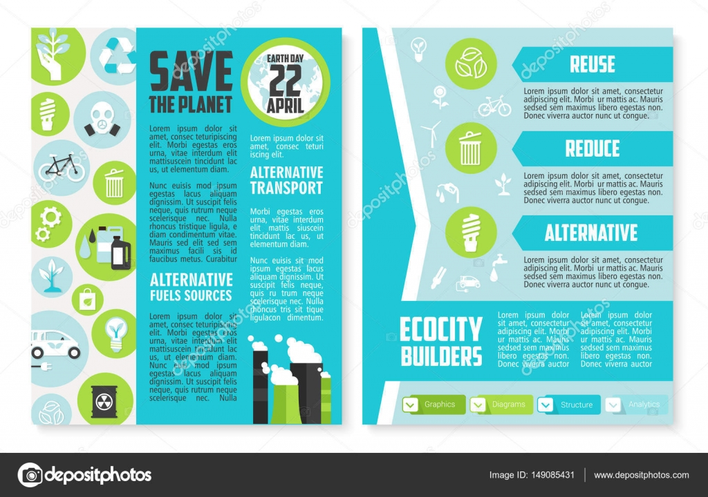 earth day brochure template save the planet poster of environment conservation principles with recycle alternative energy and fuel resources