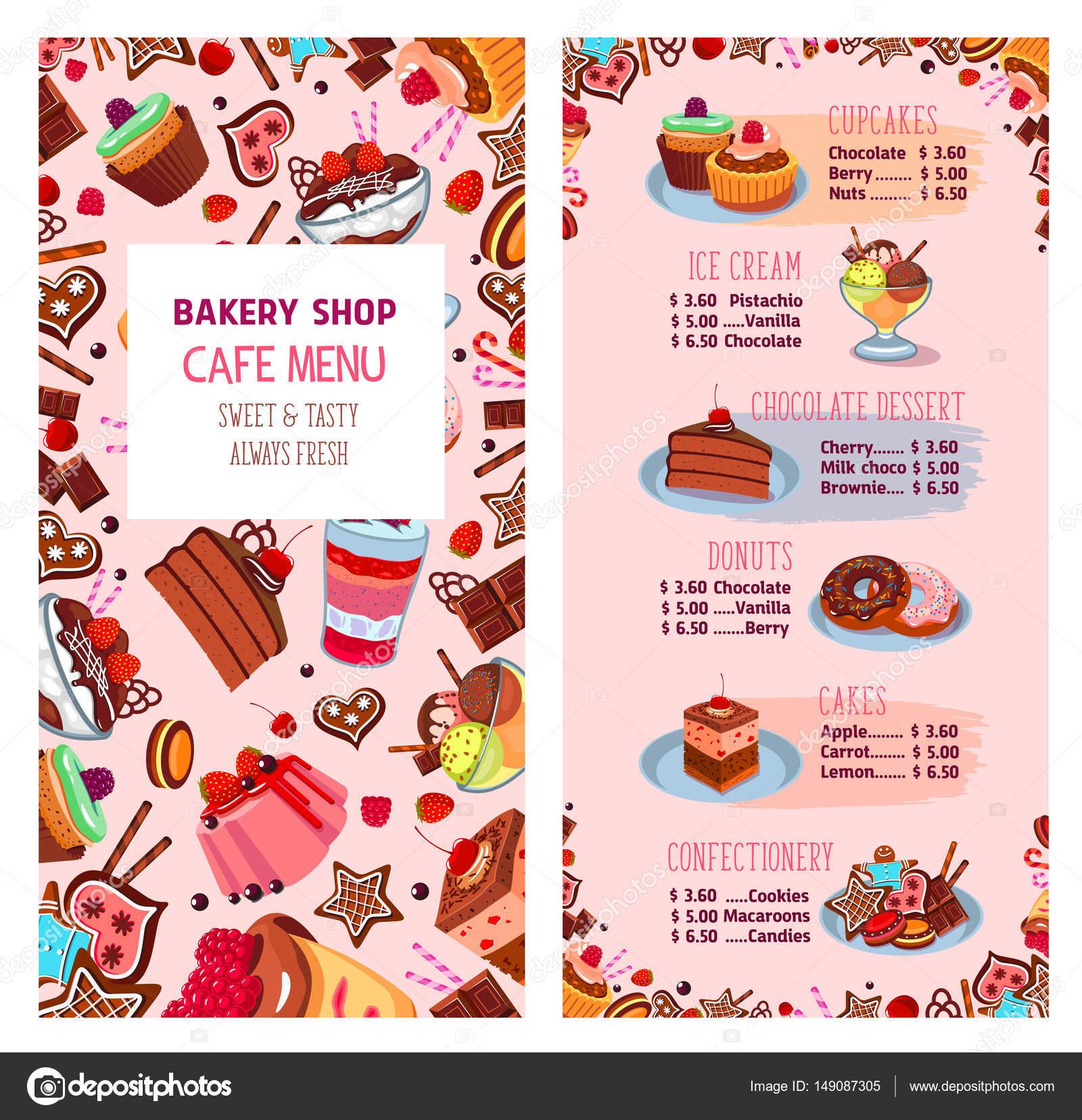 Plantilla de vector de menú de postres de pastelería tienda ...