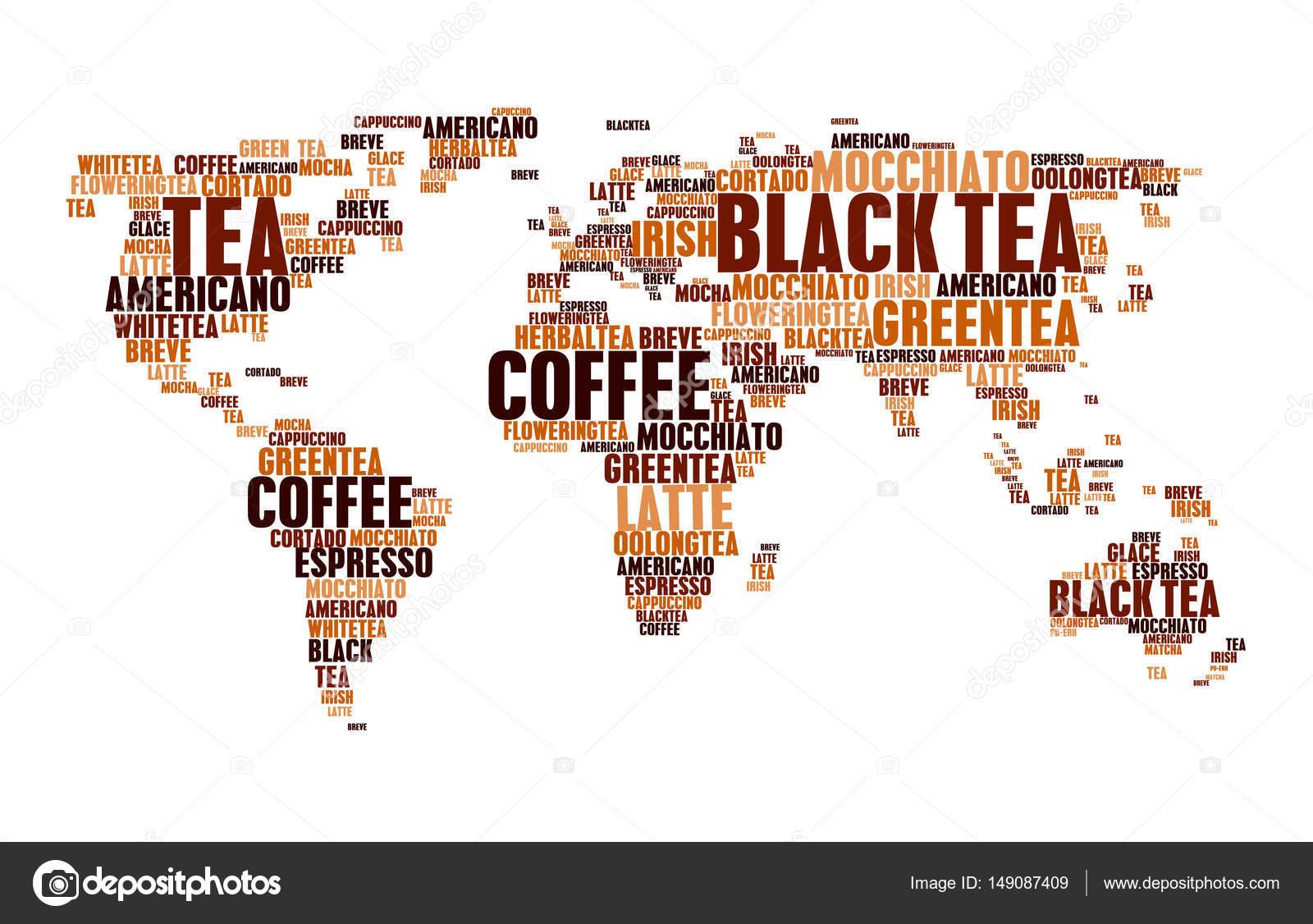 Wolke Tags Tee Kaffee heiß Getränke Welt Karte Wörter — Stockvektor ...