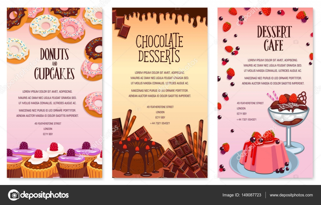 Cafe Desserts Menu Set. Pastry And Biscuits, Pudding And Cakes Or Cupcakes,  Chocolate Tortes And Patisserie Sweets. Vector Berry Muffins And Fruit ...  Dessert Menu Template