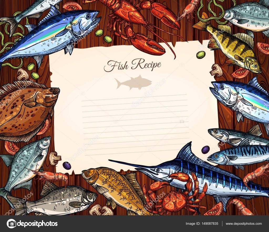 Vektor Vorlage leeres Papier für Fisch Rezept — Stockvektor ...