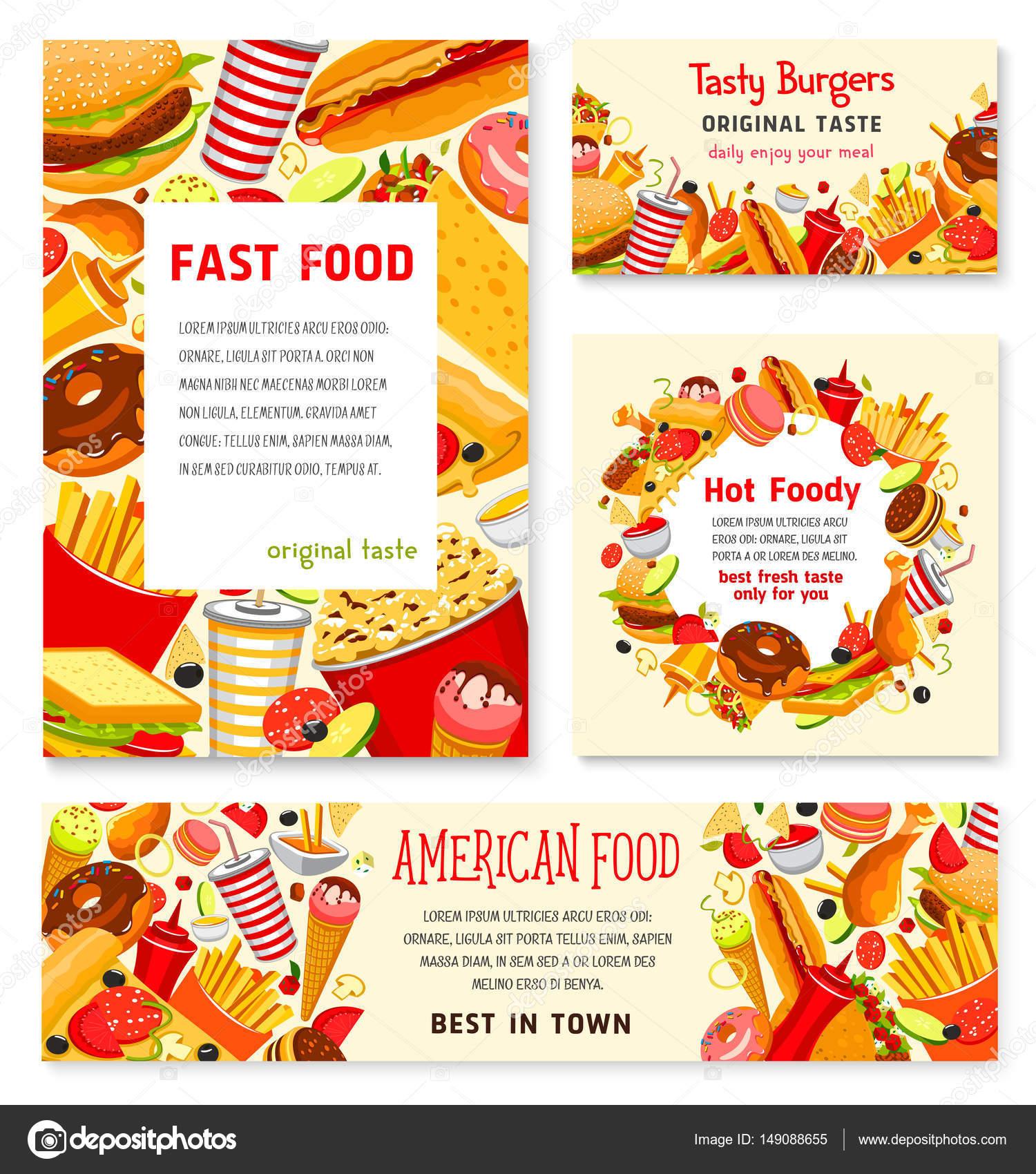Plantillas de carteles de menú de comida rápida restaurante vector ...
