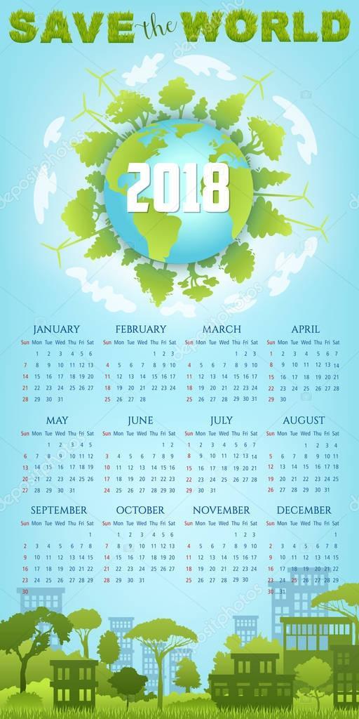 Постер календаря на экологическую тему