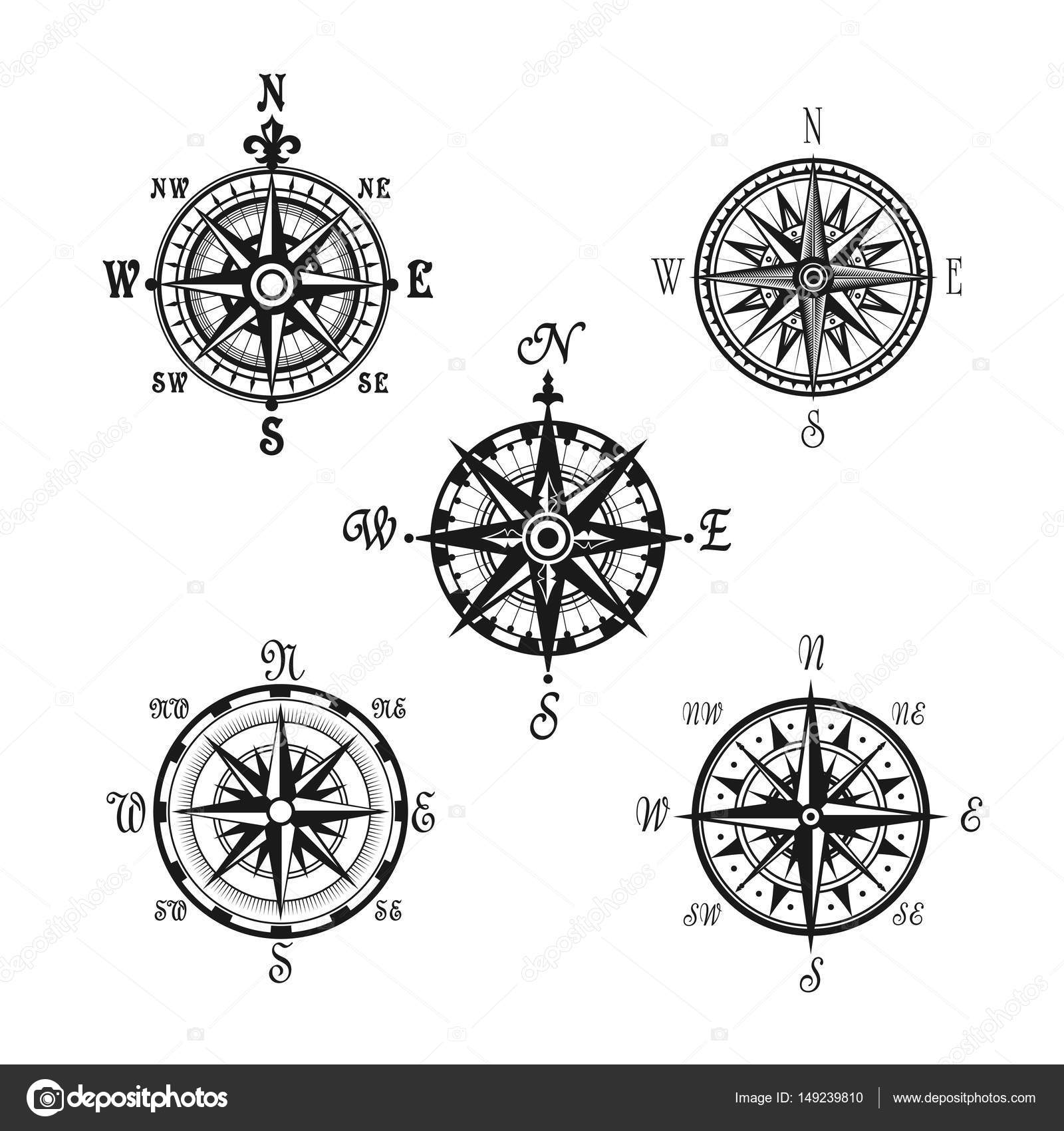 Marine or nautical compass navigation vector icons stock vector compass or wind rose marine navigation icons vector symbols of nautical retro navigator compass with winds names of east west north and south arrows for biocorpaavc Images