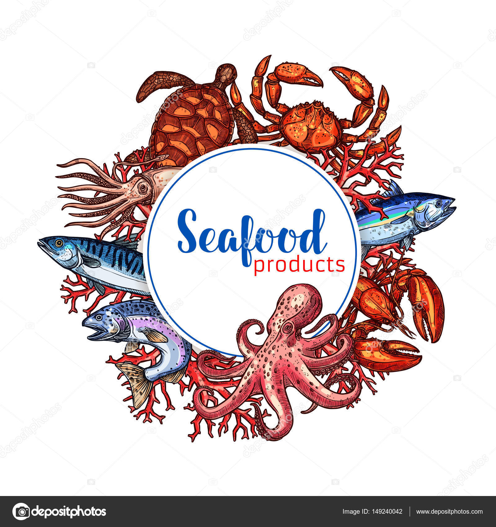 Seafood Restaurant Poster Vector Sketch Design Stock Vector C Seamartini 149240042