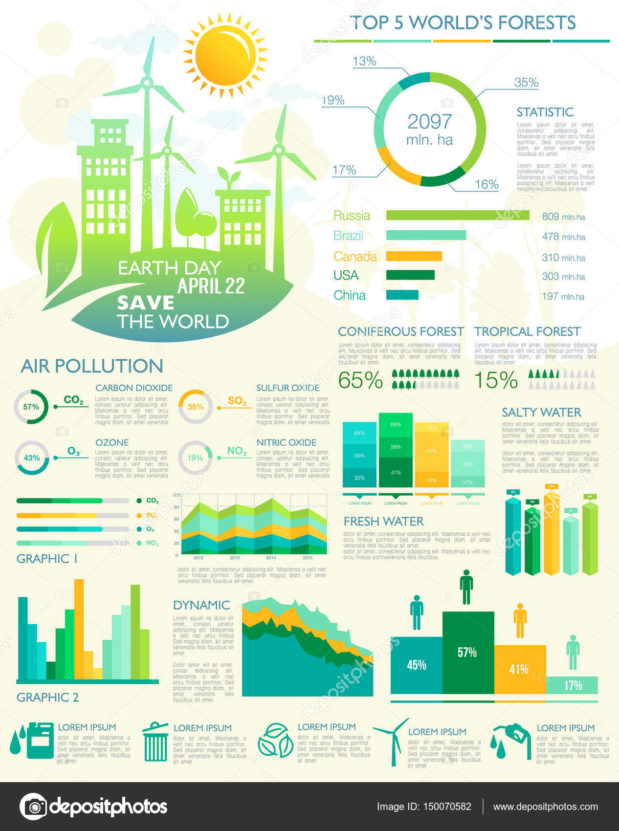 Vector infographics for earth day eco environment stock vector earth day and global nature and ecology environment conservation and pollution vector infographics graph and diagram elements for forest protection ccuart Gallery