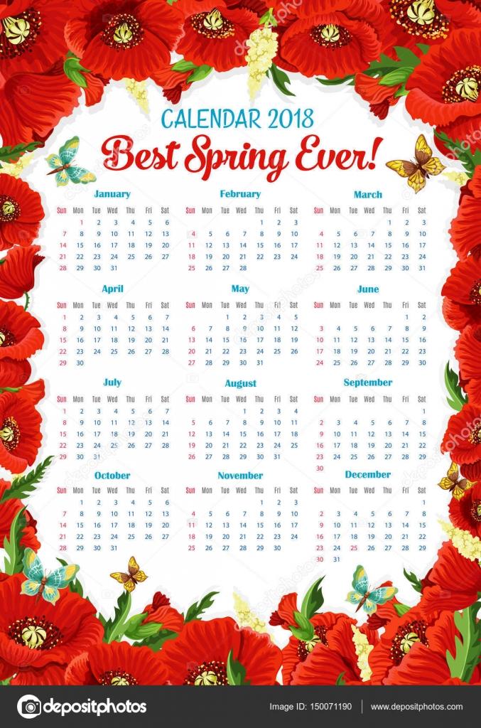 Calendario de vector 2018 de marco de flores amapolas de primavera ...