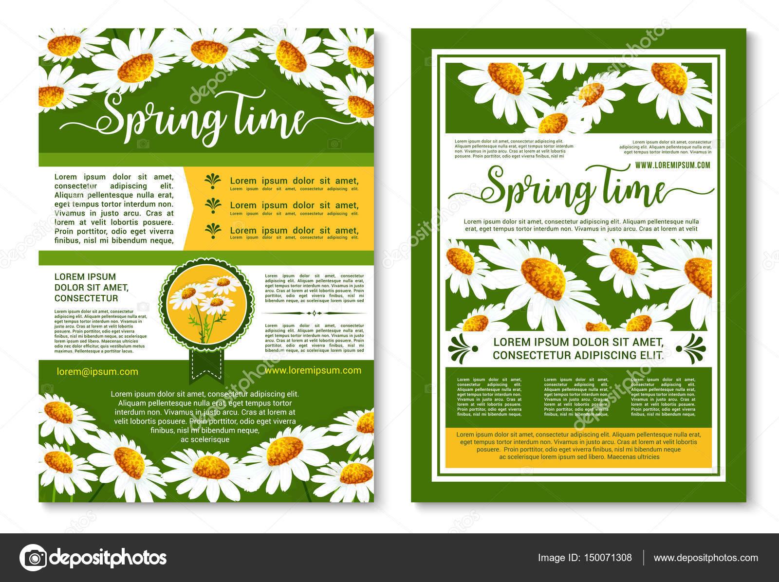 Modelo De Cartaz Ou Folheto De Flores De Primavera Vetores