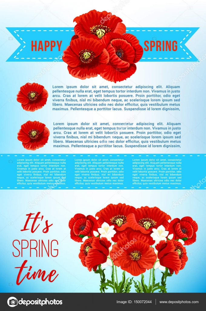 Vektor Frühling Urlaub Poster mit Mohn Blumen — Stockvektor ...