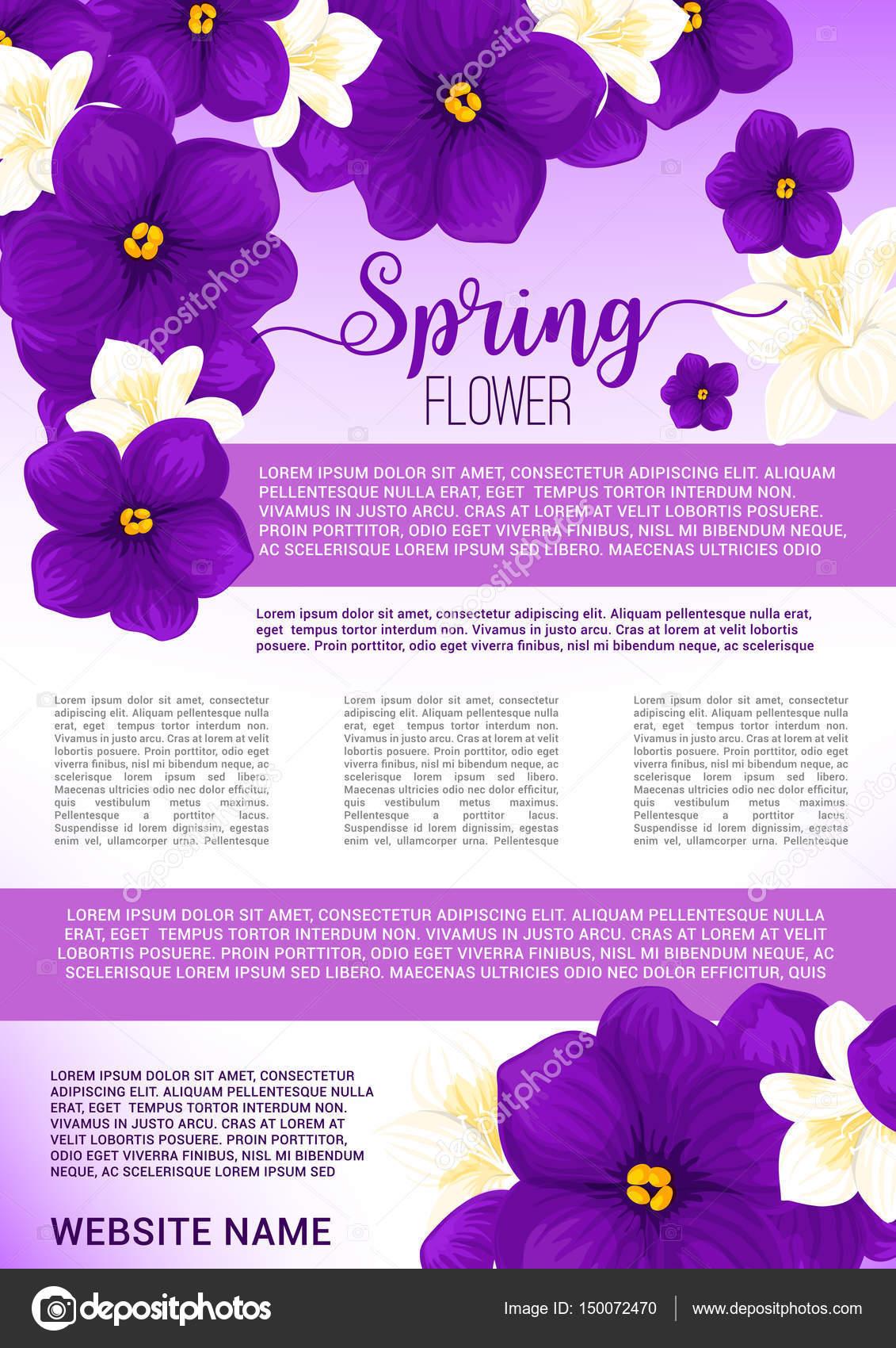 Modelo De Cartaz Primavera Flores Buquê Saudação Vetores