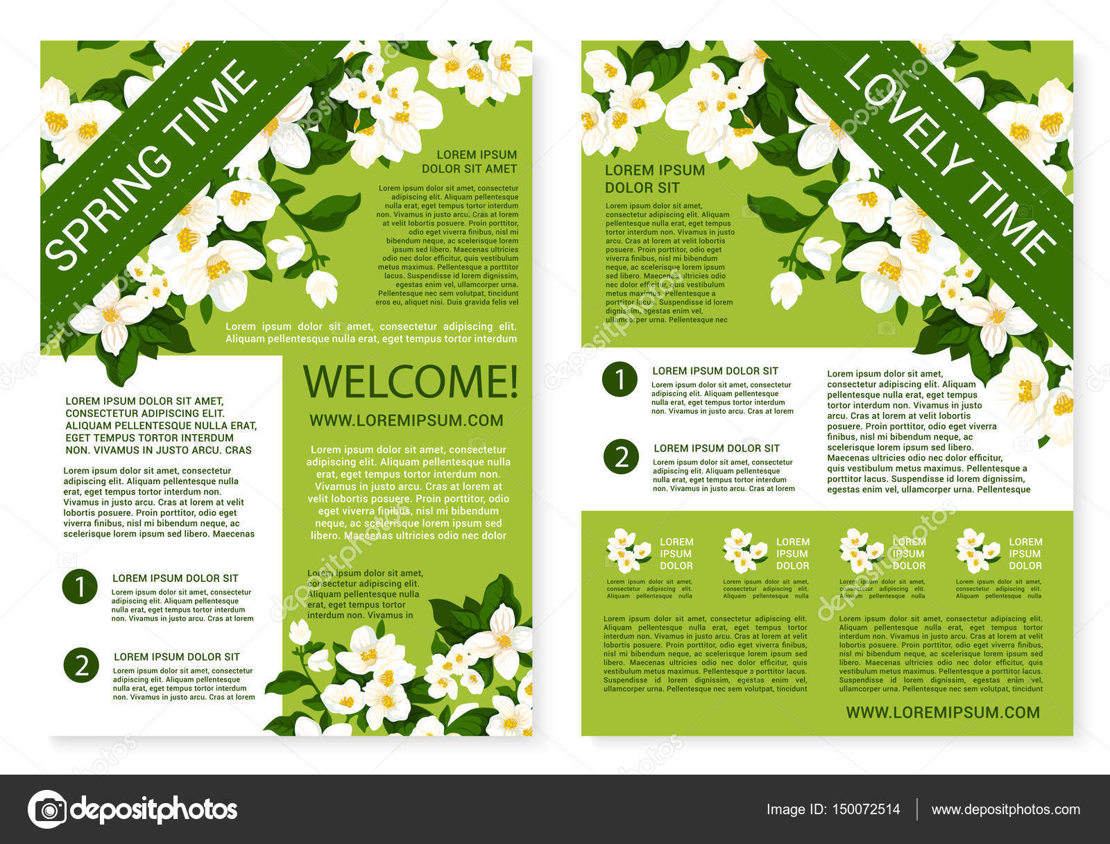Vector Spring Time Posters Of White Flowers Wreath Stock Vector