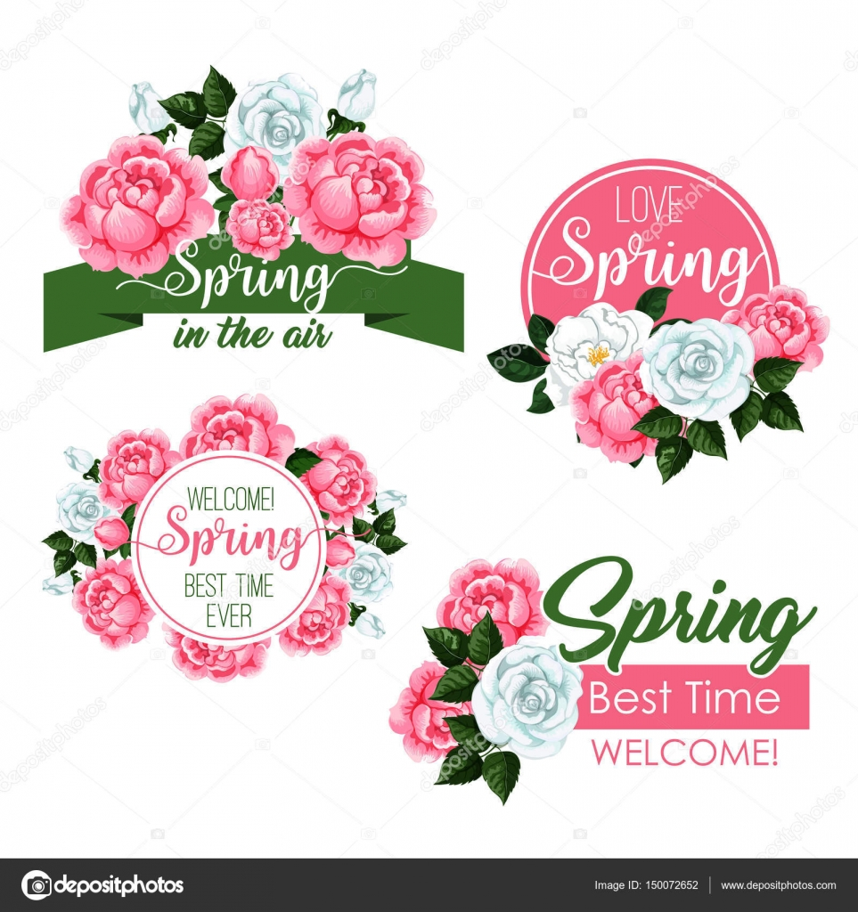 Vector spring time greeting quotes and flowers set — Stock Vector ...