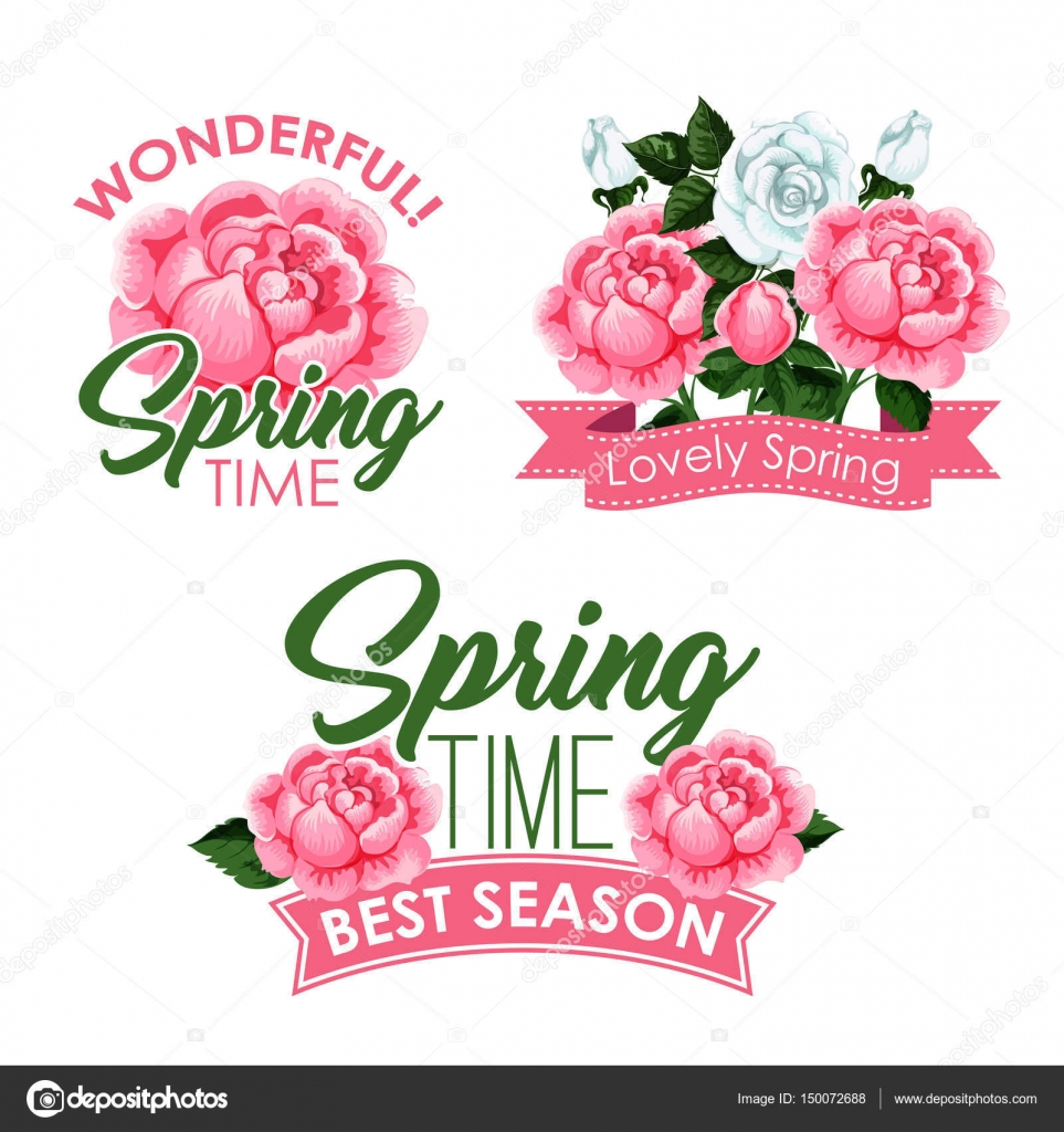 Vector springtime roses bunches of greeting quotes stock vector springtime season greeting quotes with roses bouquets and flowers wreath design blooming pink and white blooming roses and flourish bunches with ribbons kristyandbryce Image collections