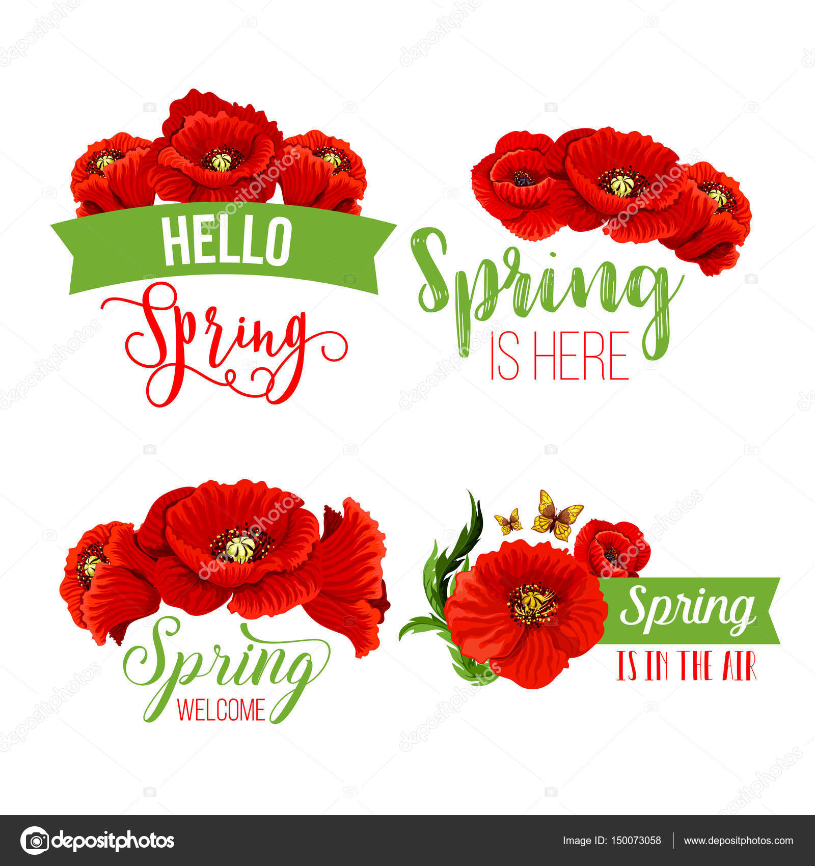Vector spring time greeting quotes poppy flowers — Stock Vector ...