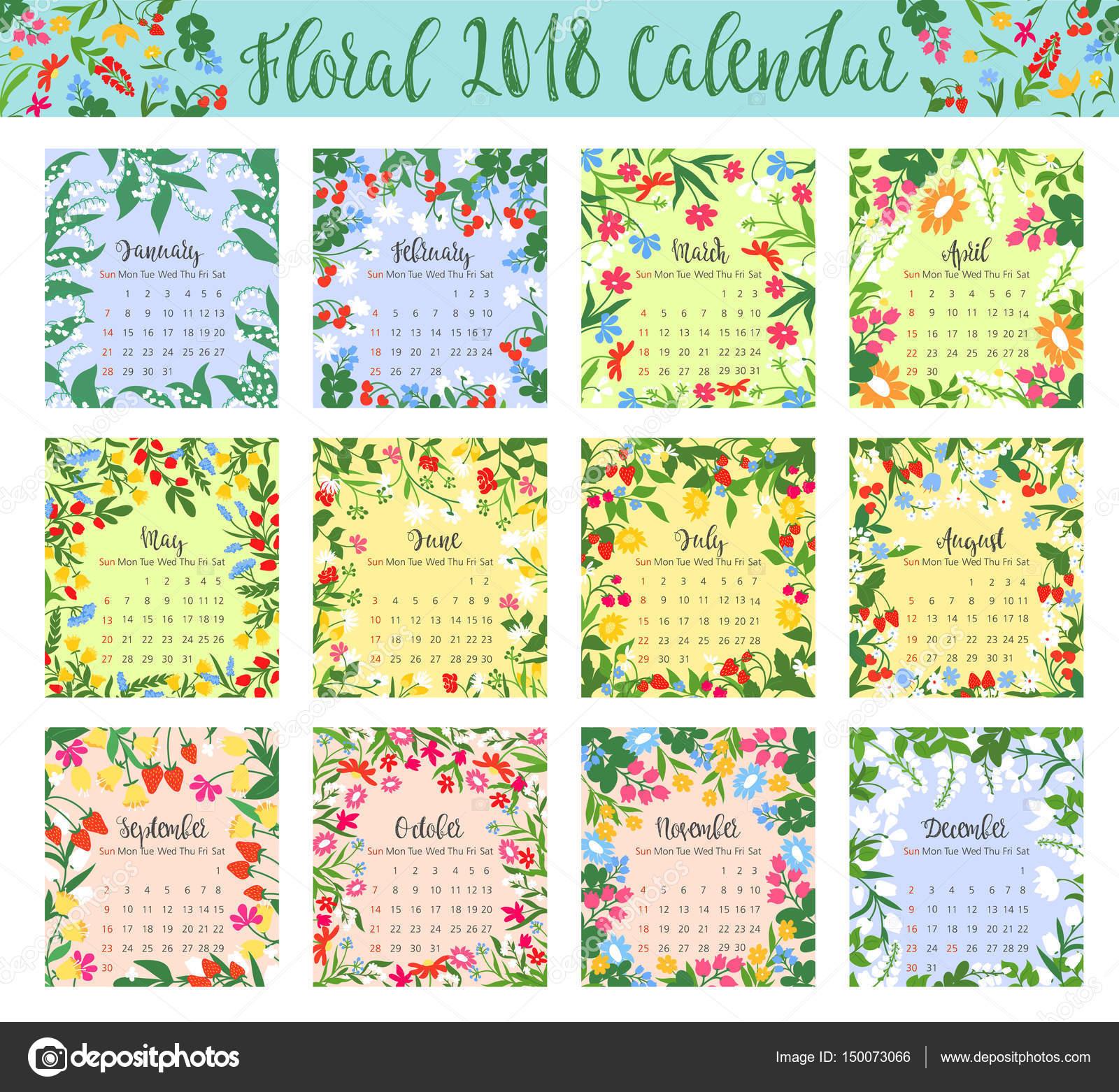 Calendario floral con flor silvestre y el marco de la baya — Archivo ...