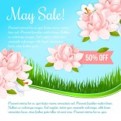 Spring holiday flowers discount sale vector poster